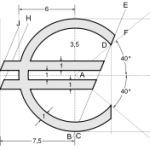 Официальная спецификация логотипа евро, который должен печататься желтым цветом на голубом фоне