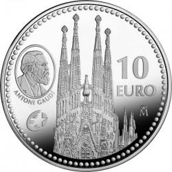 Испания, 2010, 10 евро, Гауди, реверс