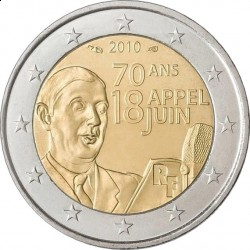 Франция, 2010, 2 евро, Шарль де Голль