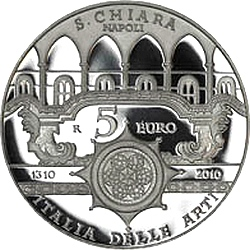 Италияю, 5 евро, 2010, Санта-Кьяра, реверс