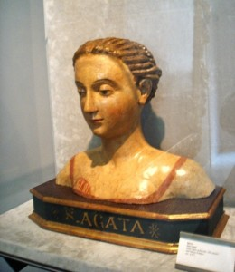 Saint Agatha of Sicily wooden bust, XVI century. Palazzo Pubblico, National Museum of San Marino.
