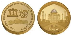 Килограммовая золотая монета из Франции «Тадж-Махал»