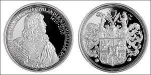 Латвийская монета в честь 400-летия со дня рождения Якоба Кеттлера, 3-го герцога Курляндии и Семигалии