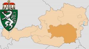 Штирия на карте Австрии и герб федеральной земли