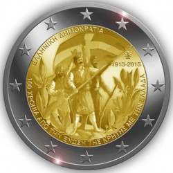 2 euro. Greece 2013.  100th Anniversary of the union of Crete with Greece