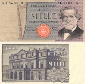 bancnote italy 1000 lire