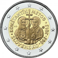 2 euro. Slovakia 2013. Cyril and Methodius