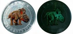 Canada 25 cent Dinosaur Pachyrhinosaurus - Coloured Glow-in-the-dark Coin