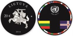 Litva 2016. 20 euro. 25th anniversary of the consolidation of Independence
