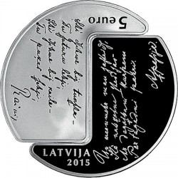 Latvia 2015. 5 euro. Rainis Aspazija