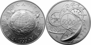 Italy 1999. 5000 lire. World Encircled by Birds and Stars