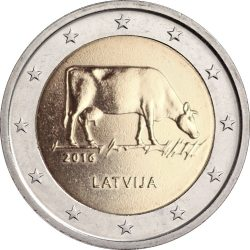 2 euro. Latvia 2016. Cow