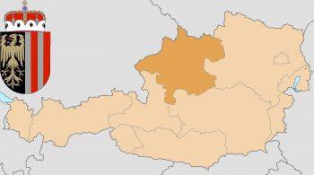 Верхняя Австрия на карте Австрии и герб федеральной земли