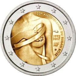 2 euro France 2017 ruban rose