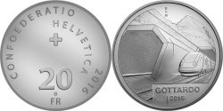 Switzerland 2016 20 Franc Gottardo