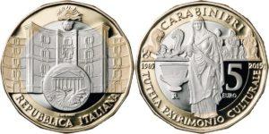 Italy 2019 5 euro. Comando carabinieri per la tutela del patrimonio culturale